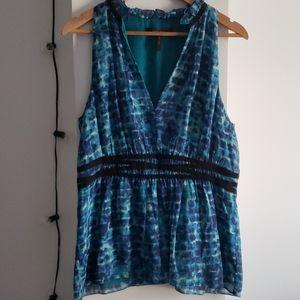 BCBG Aqua Blue Printed Empire Waist Silk Blouse